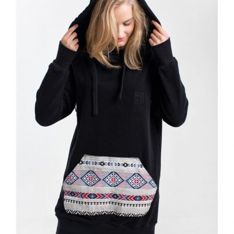 MOKI Black Tribal - długa bluza z kapturem