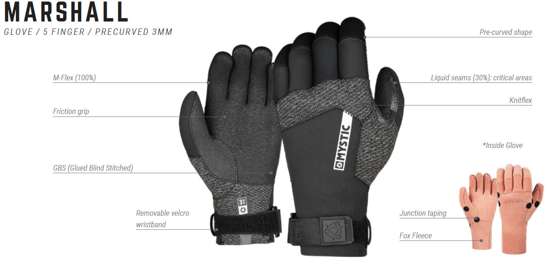 Rękawiczki neoprenowe Mystic Marshall - 5-finger precurved - legenda